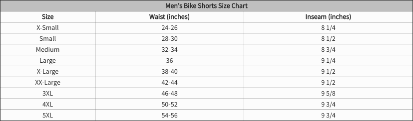 shorts sizing chart for bikes for big guys