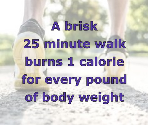 <p>calories burned from brisk 25 minute walk</p>