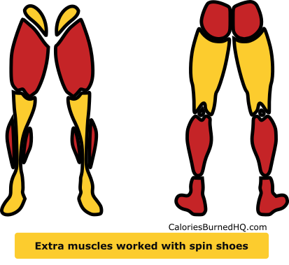extra muscles worked wearing spin shoes