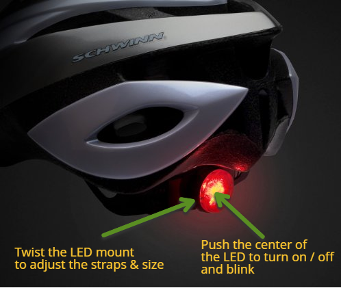 schwinn thrasher led bike helmet rear