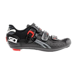 Road shoes are the firmest and most efficient at transferring power to pedal. However, road shoes have extruding cleats, and no grip for walking in.